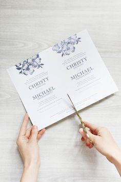 These hand-stamped floral wedding invitations make for a fun and easy DIY project. Not to mention they only cost $65 for 100 of them.