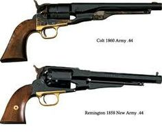 Remington and  Colt ball and cap revolveres.Probabilly the gorgeous pistols ever