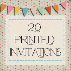 20 Custom Printed Invitations. $14.00, via Etsy.