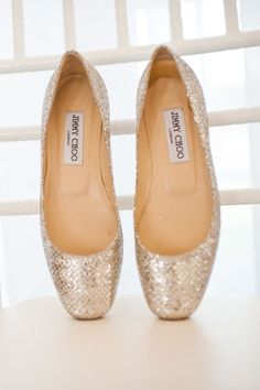Jimmy Choo glittery wedding shoes #ballet #flats #receptionshoes
