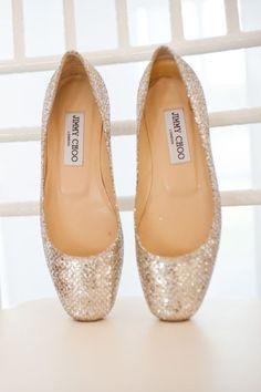 Jimmy Choo Gold Glittery Ballerina Shoes