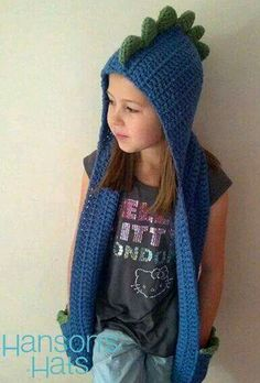 INSPIRATION: Blue dinosaur hooded scarf: Except I'd make mine out of fleece Crochet Hooded Scarf, Crochet Beanie, Crochet Scarves, Crochet Shawl, Diy Crochet, Crochet Clothes, Crochet Baby, Knitted Hats, Hooded Blanket