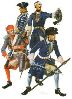 Infantry Swedish army of Charles XII at Poltava: Musketeer Jonkopings Regiment. Drummer Kalmar Regiment. The officer Narke-Viurmlands Regiment.