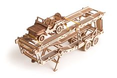Wood Trick Mechanical Model Car Trailer Wooden Puzzle, Assembly Constructor, Brain Teaser, Best DIY Toy, IQ Game for Teens and Adults Model Kits For Adults, 3d Puzzel, Model Training, Wooden Model Kits, Wooden Gears, Woodworking School, Woodworking Courses, Woodworking Plans, Model Building Kits