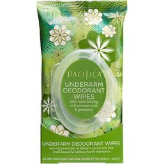 Pacifica Underarm Deodorant Wipes with coconut milk and gardenia, smell incredible and make your armpits super happy! An aluminum-free formula utilizing natural ingredients with effective odor control, designed to remove malodors from under your arms. Underarm Deodorant, Natural Deodorant, Natural Essential Oils, Essential Oil Blends, Smelly Underarms, Antibacterial Essential Oils, Body Odor, Clean Beauty, Skin Care