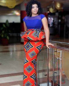 Fabulous Ankara Straight Skirt and Peplum Blouse Designs 2019 for Ladies.Fabulous Ankara Straight Skirt and Peplum Blouse Designs 2019 for Ladies Latest African Fashion Dresses, African Print Dresses, African Dresses For Women, African Print Fashion, Africa Fashion, African Attire, African Wear, African Wedding Dress, Ankara Fashion