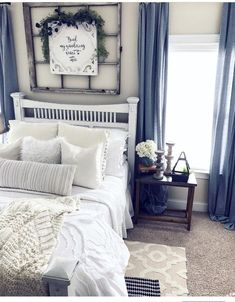 Are you looking for inspiration for farmhouse bedroom? Check out the post right here for amazing farmhouse bedroom ideas. This amazing farmhouse bedroom ideas will look wonderful. Shabby Chic Bedrooms, Shabby Chic Homes, Guest Bedrooms, Bedroom Furniture Sets, Home Decor Bedroom, Bedroom Wall, Bedroom Ideas, Bedroom Layouts, Cozy Bedroom
