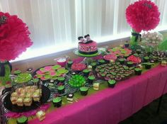Pink Green And Brown Baby Shower Ideas Pink Raspberry And Bright