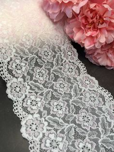 White stretch lace trim with pink flowers by the yard | Etsy Lace Trim Shorts, Lace Skirt, Stretch Lace, Free Samples, Teal Blue, Floral Lace, Pink Flowers, Stretches, To My Daughter