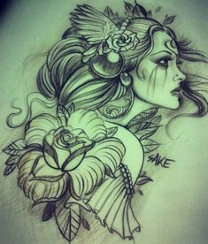 Red Rose Flower And Gypsy Girl Tattoo
