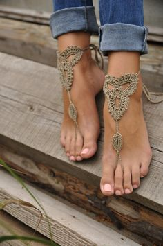 Crochet Tan Barefoot Sandals, Nude shoes, Foot jewelry,Wedding, Victorian Lace, Sexy, Yoga, Anklet , Bellydance, Steampunk, Beach Pool. $15.00, via Etsy.