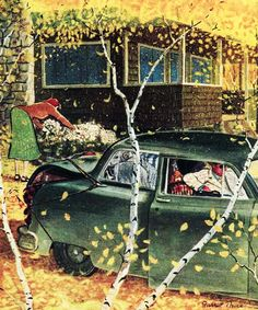 Fall Foliage, art by Garrett Price.  Detail from The New Yorker Magazine cover October 6, 1951