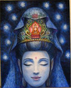 Original Kuan Yin Painting meditation Zen by HalstenbergStudio, $800.00