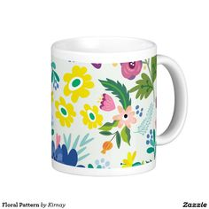 Floral Pattern Classic White Coffee Mug