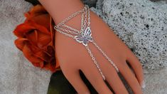 Silver Butterfly Slave Bracelet Hand Chain Body by JWBoutique1, $15.00