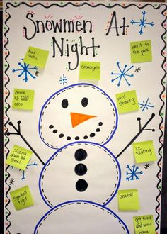 What did your snowman do at night? Great brainstorm anchor chart- using SU colors! Christmas Activities, Winter Activities, Writing Activities, Classroom Activities, Preschool Winter, Writing Centers, Classroom Ideas, Preschool Class, Writing Ideas