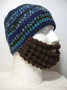 Crochet Bearded Skullcap  Beard Hat  Blue Purple and by Hooked2012