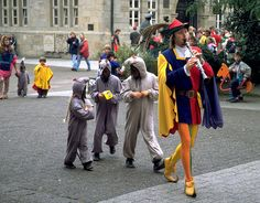"""Hameln, Germany. (the German fairy-tale route of the """"Poied Piper""""."""