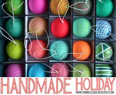 handmade holiday | yarn ball ornaments by funnelcloud rachel, via Flickr