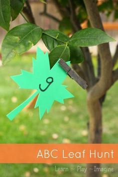 Going on a leaf hunt with alphabet activities and math games for hands on learning in preschool.