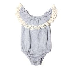 580472c68e71 Baby Girls Grey or Dusty Pink Short Sleeve Ruffle Collar with lace Fall  Jumpsuit Romper- Baby Ruffle Color - Layering - Fall Trends