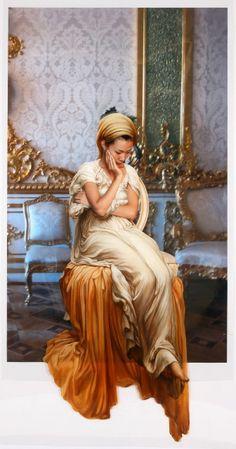 The Costume of Painter - L.Leighton 080908  2008  oil on vinyl, vinyl on photograph  290 x 154cm