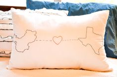 make your own embroidered Geography Love pillow (my hubby is from washington, I am from Hawaii.I think I can make this) Homemade Christmas Gifts, Christmas Gifts For Mom, Christmas Ideas, Christmas Holiday, Holiday Gifts, Long Distance Pillow, Cute Pillows, Throw Pillows, Diy Wedding Gifts