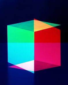 Cubes for Albers and LeWitt by Jessica Eaton who won the Photography Jury Grand Prize at the 27th International Festival of Fashion and Photography in Hyeres. She uses primary color filters and takes multiple exposures to create images not seen by the naked eye. via Diane Smyth, bjp-online.com #Photography #Jessica_Eaton #Hyeres_Festival #Cubes_for_Albers_and_LeWitt #J+Diane_Smyth #bjp