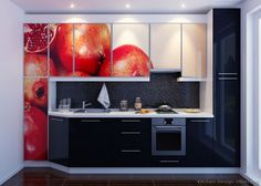#Kitchen Idea of the Day: Would you put fruit on your cabinets? Modern Black Kitchens.