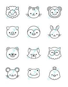 Les illustrations au design exclusif Happybulle - Best Illustrations with an exclusive Happybulle de Cute Easy Drawings, Cute Cartoon Drawings, Art Drawings For Kids, Kawaii Drawings, Doodle Drawings, Drawing For Kids, Drawing Cartoons, Drawing Drawing, Drawing Faces