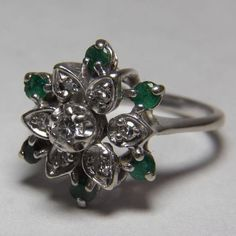 Sparkling 14K White Gold Diamond and Emerald Cocktail Ring from thevelvetbox on Ruby Lane