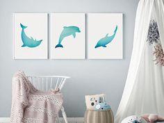 Dolphin Wall Art Blue Nursery Wall Art Set of 3 Prints Dolphin Bedroom, Ocean Bedroom, Seaside Bedroom, Girls Bedroom, Bedrooms, Nursery Wall Decor, Nursery Prints, Nursery Room, Nursery Ideas