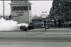 """. John Peters behind the haze of the infamous Freight Train dragster. Tony Nancy with his Steve Swaja-designed, Plymouth wedge-powered dragster. Categories: Hot Rod News Related Hot Rod Articles Gear Vendors is Returning to Sponsor Drag Week 2014 How 'bout A Real Xmas Tree For Your Living Room VIDEO: Meltdown at the Byron Meltdown Drags Watch the PRO Winter Warm-Up Via Live Streaming Fri/Sat March Meet 2013 Top Fuel Boat Racing: Ride Along with the Red Line Oil """"Problem Child"""" 5 comments…"""