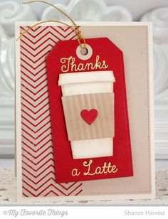 Fine Chevron Background, Perk Up, Coffee Cup Die-namics, Stitched Traditional Tag STAX Die-namics - Sharon Harnist #mftstamps