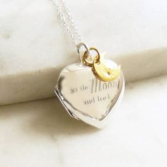 Lime Tree Design 'To the moon and back' Silver Heart Locket Necklace ($92) ❤ liked on Polyvore featuring jewelry, necklaces, chain necklace, silver locket necklace, charm necklace, heart chain necklace and heart necklace Silver Locket Necklace, Silver Lockets, Boho Necklace, Sterling Silver Necklaces, Pearl Earrings, Pendant Necklace, Jewelry Necklaces, Necklace Charm, Heart Chain