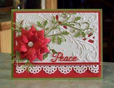 "Large Die-Cut Poinsettia Christmas Card - 4.25"" x 5.5"" - Wishing You Peace - Holly Flourish"
