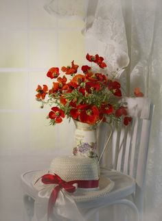 Bonnet and bouquet. Raindrops And Roses, Red Cottage, Still Life Photography, Red Poppies, Little Red, Beautiful World, Flower Power, Floral Arrangements, Beautiful Flowers