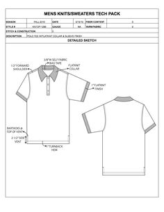 Designers Nexus - How to Spec a Garment eBook & Apparel Techpacks Polo Shirt Design, Flat Sketches, Tech Pack, Dress Sewing Patterns, Business Fashion, Size Chart, Sportswear, Shirt Designs, Shirts