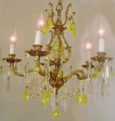 """Vintage URANIUM Yellow VASELINE Crystal Bronze CHANDELIER! 18""""x 21"""" Turquoise Blue Uranium Beads ~ with a Black Light Crystals  Glow Green! by SharonsChandeliers on Etsy https://www.etsy.com/listing/260614812/vintage-uranium-yellow-vaseline-crystal"""