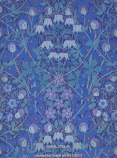 Columbines, periwinkles and sweetpeas wallpaper by Allan Francis Vigers (1858-1921), printed by Jeffrey & Co. Colour woodblock print. England