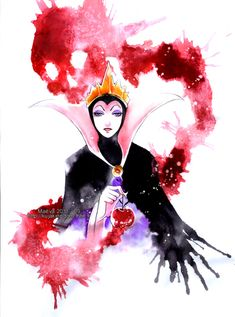 An epic watercolor of Maleficent by *Maevachan!--------this is not Maleficent. This is the Evil Queen from Snow White! Disney Pixar, Disney Animation, Disney Villains, Disney And Dreamworks, Disney Kunst, Arte Disney, Disney Fan Art, Disney Love, Disney Magic