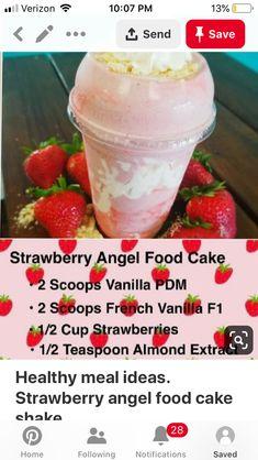 Herbalife Meal Plan, Herbalife Recipes, Herbalife Nutrition, Protein Shake Recipes, Protein Shakes, Smoothie Recipes, Smoothies, Herbal Life Shakes, Strawberry Angel Food Cake