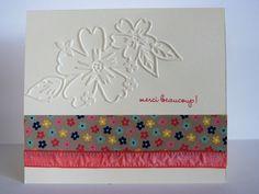 Carte fleurie, stampin'up, Papier de la série affectueusement, Plioir à gaufrage tendresse, fannystamp31
