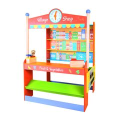 Love this Village Shop by Bigjigs Toys on Encourage imaginative play with this vibrant and detailed shop stand that includes plenty of shelf and counter space ready for stocking and selling. Preschool Furniture, Play Shop, Thing 1, Decorating With Pictures, Tiny Spaces, Toy Craft, Kids Corner, Child Love, Simple House