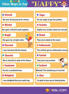 This page provides an useful list of Happy Synonyms in English with picture you can use to increase your English vocabulary. You'll also find example sentence to help show context for each word. Advanced English Vocabulary, English Vocabulary Words, Learn English Words, English Phrases, English Grammar, English Tips, English Study, English Lessons, English Language Learning