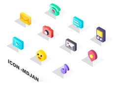 Icons Isometric designed by Mdjan. Connect with them on Dribbble; Flat Design Icons, App Icon Design, 3d Icons, Art Web, Isometric Design, Graphic Design Posters, Icon Set, Aesthetic Pictures, Design Inspiration