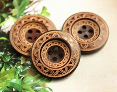 Brown Wooden Buttons - Japanese Style Mandala Wreath Pattern Brown Wood buttons. 0.98 inch, 10 pcs by Lyanwood, $5.50