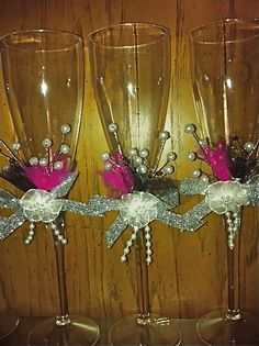 decorate champagne glasses. Plastic champagne wedding flutes decorated for my daughter s small home  quinceanera sets Set de brindis con dos copas y set cuchillos