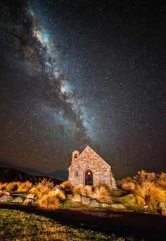 milky way at church of good shepherd, lake tekapo, new zealand