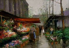 "Édouard Cortès (French, 1882 – 1969) ""Flower Market At La Madeleine"""